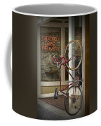 Bicycle Attached To Wall Outside Of Fast Food Restaurant Coffee Mug