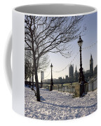 Big Ben Westminster Abbey And Houses Of Parliament In The Snow Coffee Mug