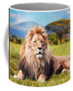 Big Lion Lying On Savannah Grass Coffee Mug