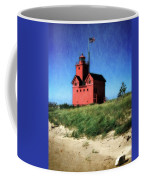 Big Red With Flag Coffee Mug by Michelle Calkins