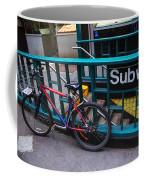 Bike At Subway Entrance Coffee Mug
