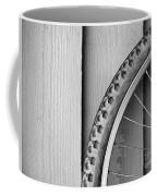 Bike Wheel Black And White Coffee Mug by Tim Hester