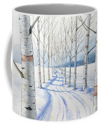 Birch Trees Along The Curvy Road Coffee Mug