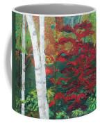 Birch Trees In Red Coffee Mug