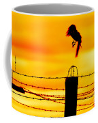 Bird Flying Off From Prison Fence Coffee Mug