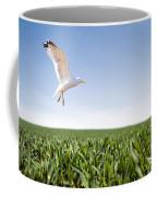 Bird Flying Over Green Grass Coffee Mug