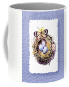 Bird Nest With Daisies Eggs And Butterfly Coffee Mug