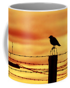 Bird Sitting On Prison Fence Coffee Mug
