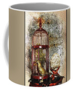 Birdcage Brass Bird And Carved Stone  Coffee Mug