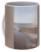 Birds At The Beach At Low Tide Coffee Mug