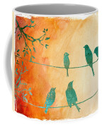 Birds Gathered On Wires-5 Coffee Mug