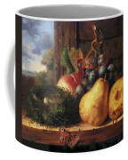Birds Nest Butterfly And Fruit Coffee Mug by Edward Ladell