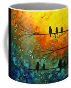 Birds Of A Feather Original Whimsical Painting Coffee Mug by Megan Duncanson