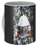 Birds On Bird Feeder In Winter Coffee Mug