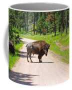 Bison Blocking The Road Coffee Mug