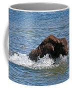 Bison Calf Running After Mama In Yellowstone National Park Coffee Mug