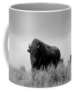Bison Cow On An Overlook In Yellowstone National Park Black And White Coffee Mug