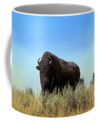 Bison Cow On An Overlook In Yellowstone National Park Coffee Mug