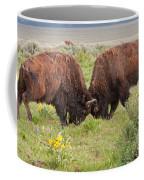 Bison Fight In Grand Teton National Park Coffee Mug
