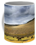 Bison Grazing Along The Yellowstone River In Hayden Valley Coffee Mug