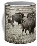 Bison Herd Bw Coffee Mug
