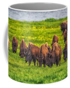 Bison Herd Grazing In Lamar Valley Coffee Mug