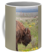 Bison In The Flowers Ingrand Teton National Park Coffee Mug