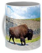 Bison Plodding Along On Alaska Highway-bc-canada Coffee Mug