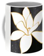 Black And Gold Magnolia- Floral Art Coffee Mug by Linda Woods