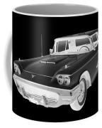 Black And White 1958  Ford Thunderbird  Car Pop Art Coffee Mug
