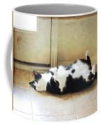 Black And White Cat Reclining Coffee Mug