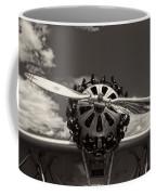 Black And White Close-up Of Airplane Engine Coffee Mug