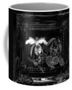 Black And White Orchid Flowers Growing Through Old Wooden Pictur Coffee Mug