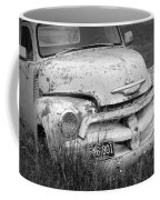 Black And White Photograph A Vintage Junk Chevy Pickup Truck Coffee Mug
