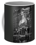 Black And White Photograph Of A Mannequin In Lingerie In Storefront Window Display  Coffee Mug