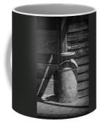 Black And White Photograph Of Vintage Creamery Can By The Old Homestead In 1880 Town Coffee Mug