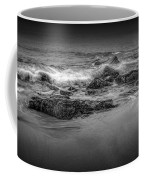 Black And White Photograph Of Waves Crashing On The Shore At Sand Beach Coffee Mug