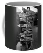 Black And White World Directions Coffee Mug