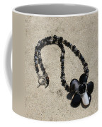 Black Banded Onyx Wire Wrapped Flower Pendant Necklace 3634 Coffee Mug