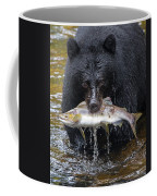 Black Bear With Salmon Coffee Mug
