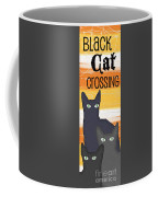 Black Cat Crossing Coffee Mug by Linda Woods