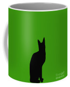 Black Cat On Lime Green Background Coffee Mug