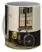 Black Cycle Rests On Window Sill Bruges Belgium Coffee Mug