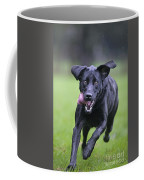 Black Labrador Running Coffee Mug