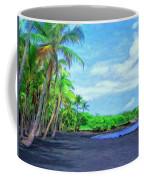 Black Sand Beach At Punaluu Coffee Mug