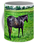 Black Stallion In Pasture Coffee Mug