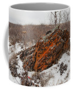 Bleak Winter Arctic Steppe Orange Lichens Rock Coffee Mug