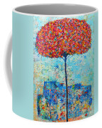 Blooming Beyond Known Skies - The Tree Of Life - Abstract Contemporary Original Oil Painting Coffee Mug by Ana Maria Edulescu