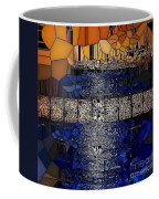 Blue And Gold Stained Abstract Coffee Mug