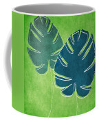 Blue And Green Palm Leaves Coffee Mug by Linda Woods
